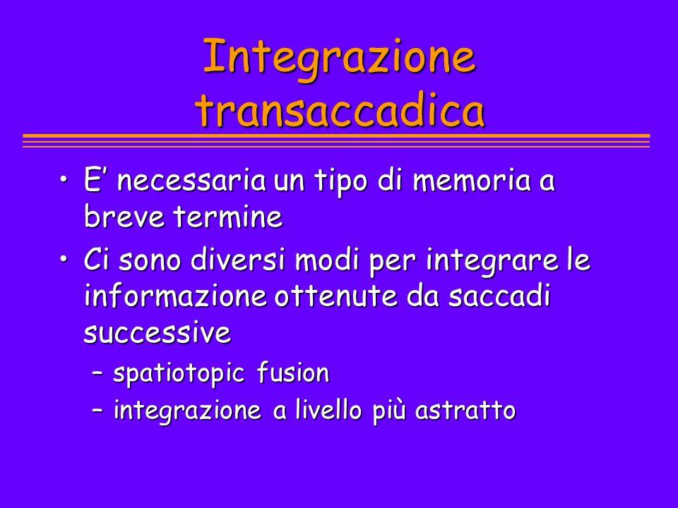 Integrazione transaccadica E necessaria un tipo di memoria a breve termineE necessaria un tipo di memoria a breve termine Ci sono diversi modi per int