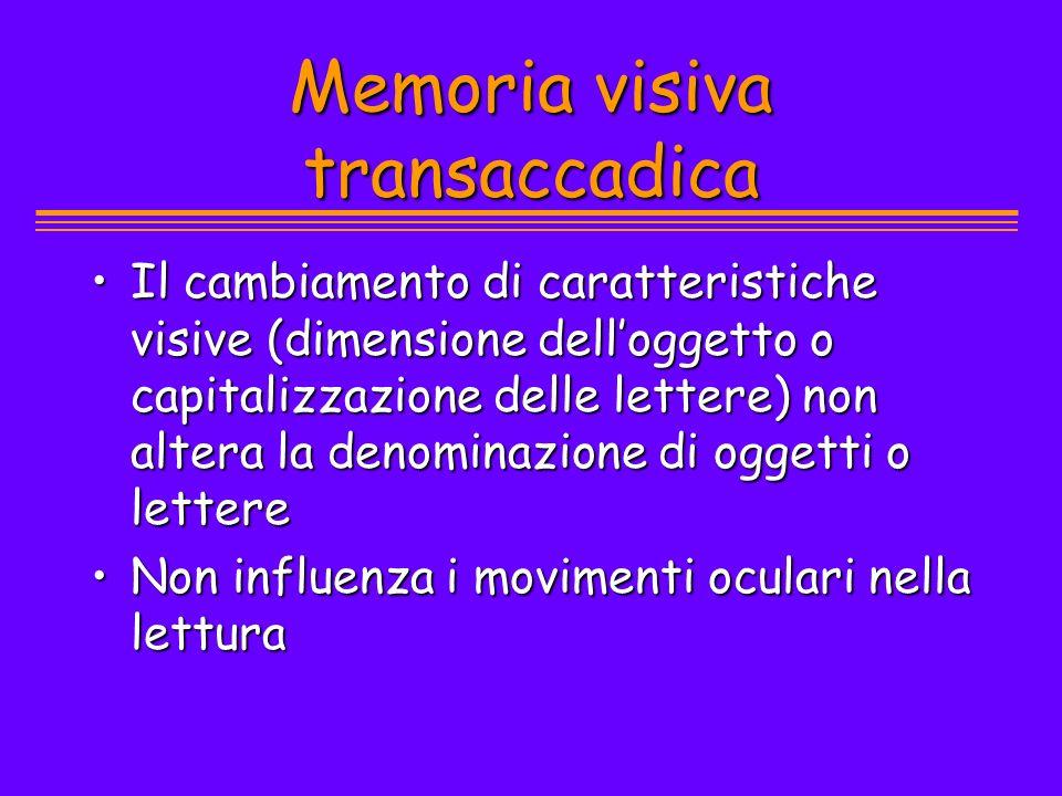 Memoria visiva transaccadica Il cambiamento di caratteristiche visive (dimensione delloggetto o capitalizzazione delle lettere) non altera la denomina