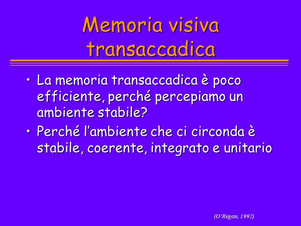 Memoria visiva transaccadica La memoria transaccadica è poco efficiente, perché percepiamo un ambiente stabile?La memoria transaccadica è poco efficie