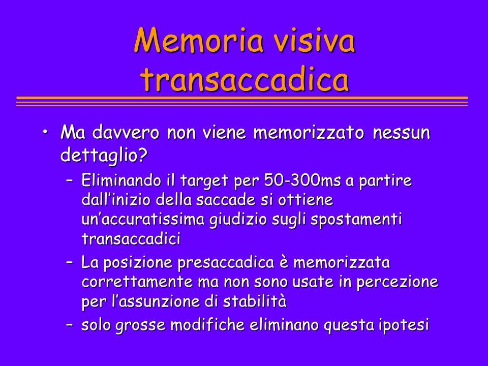 Memoria visiva transaccadica Ma davvero non viene memorizzato nessun dettaglio?Ma davvero non viene memorizzato nessun dettaglio? –Eliminando il targe