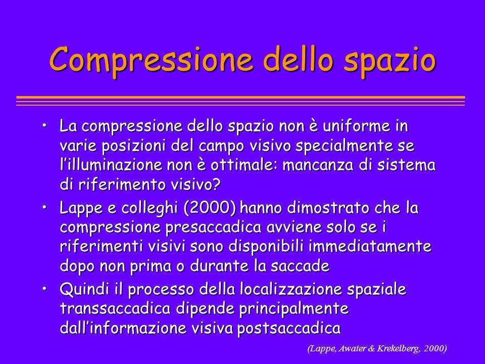 Compressione dello spazio La compressione dello spazio non è uniforme in varie posizioni del campo visivo specialmente se lilluminazione non è ottimal
