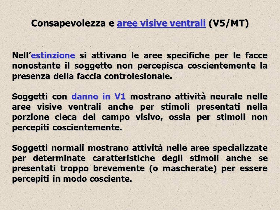 Consapevolezza e aree visive ventrali (V5/MT) Nellestinzione si attivano le aree specifiche per le facce nonostante il soggetto non percepisca coscien