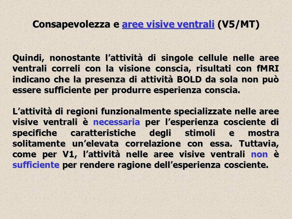 Consapevolezza e aree visive ventrali (V5/MT) Quindi, nonostante lattività di singole cellule nelle aree ventrali correli con la visione conscia, risu
