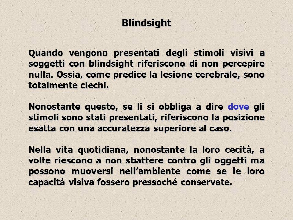 Blindsight Quando vengono presentati degli stimoli visivi a soggetti con blindsight riferiscono di non percepire nulla. Ossia, come predice la lesione