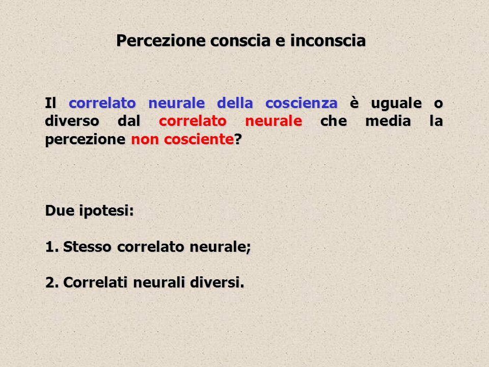 Il correlato neurale della coscienza è uguale o diverso dal correlato neurale che media la percezione non cosciente? Due ipotesi: 1. Stesso correlato