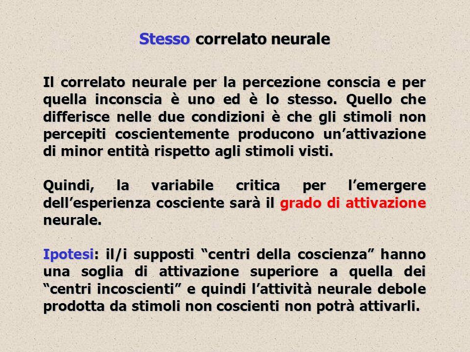 Stesso correlato neurale Il correlato neurale per la percezione conscia e per quella inconscia è uno ed è lo stesso. Quello che differisce nelle due c