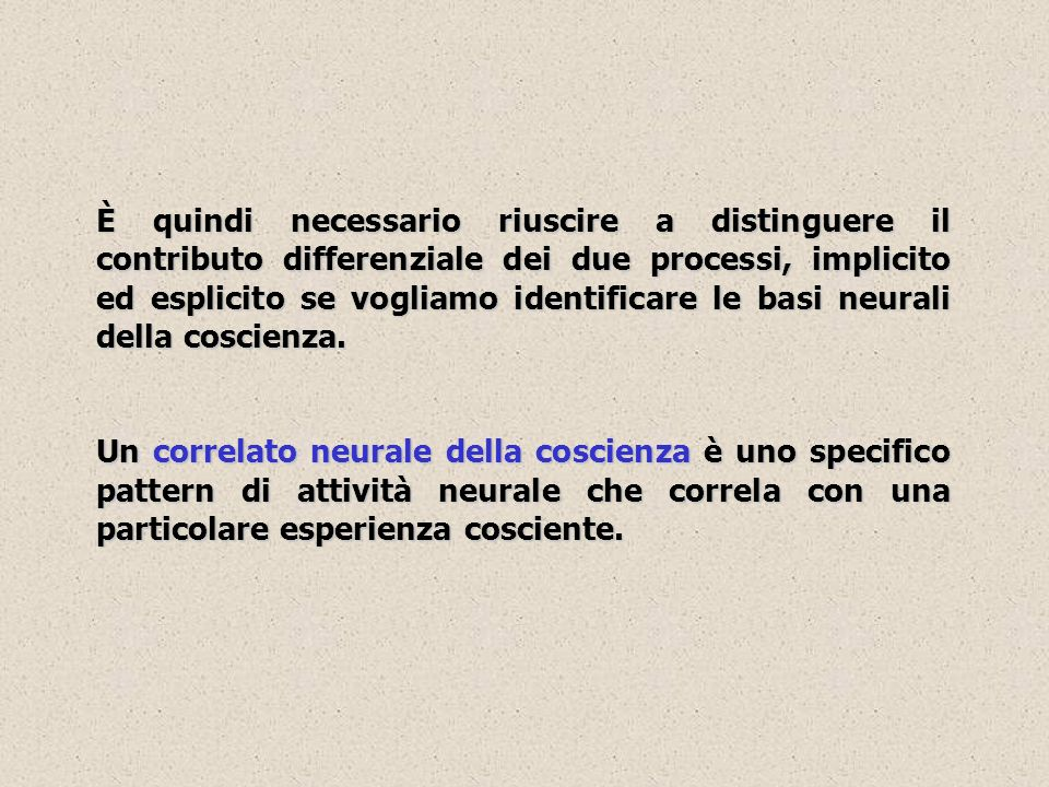 Consapevolezza e aree visive ventrali (V5/MT) Lattività neurale dei singoli neuroni nelle aree visive ventrali, contrariamente a V1, correla bene con i contenuti visivi della coscienza.