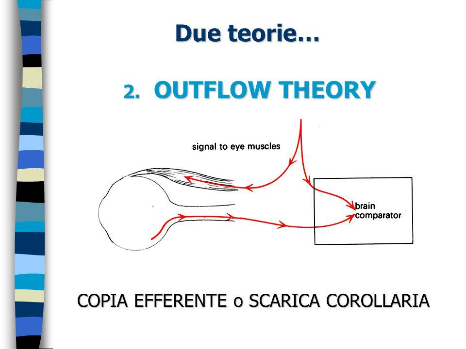 A favore della outflow theory: - Se si cerca di muovere gli occhi quando i muscoli oculari sono paralizzati… - Se il nostro occhio subisce uno spostamento provocato da una leggera pressione del dito… PERCEZIONE ILLUSORIA di MOVIMENTO