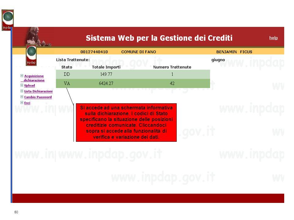 50 Si accede ad una schermata informativa sulla dichiarazione. I codici di Stato specificano la situazione delle posizioni creditizie comunicate. Clic