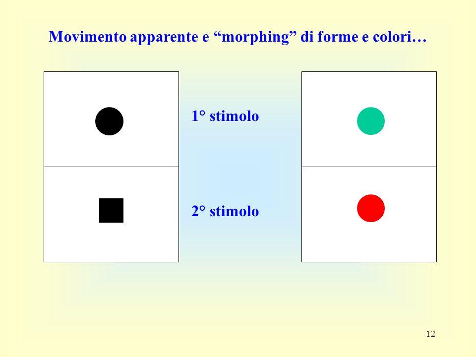 12 1° stimolo 2° stimolo Movimento apparente e morphing di forme e colori…
