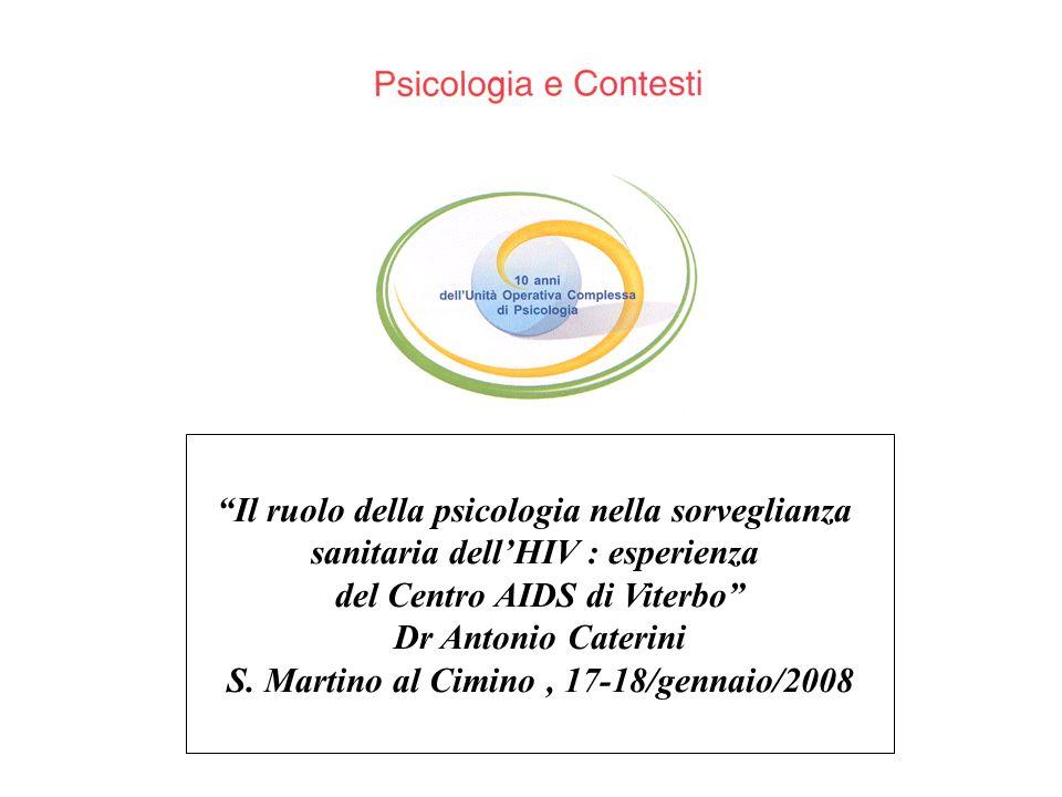 Il ruolo della psicologia nella sorveglianza sanitaria dellHIV : esperienza del Centro AIDS di Viterbo Dr Antonio Caterini S. Martino al Cimino, 17-18