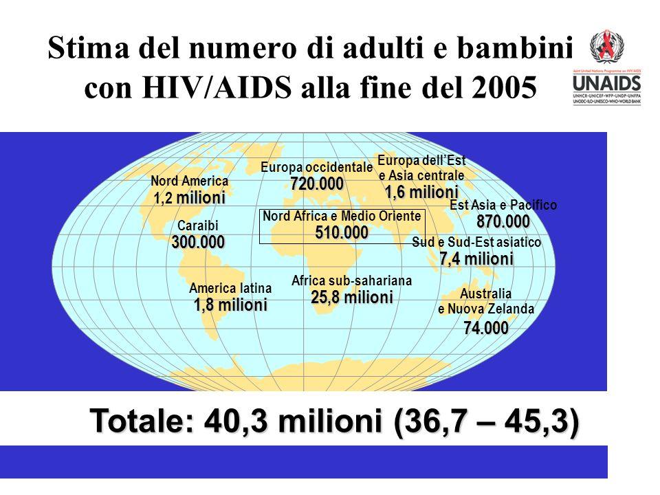 Stima del numero di adulti e bambini con HIV/AIDS alla fine del 2005 Europa occidentale720.000 Nord Africa e Medio Oriente510.000 Africa sub-sahariana