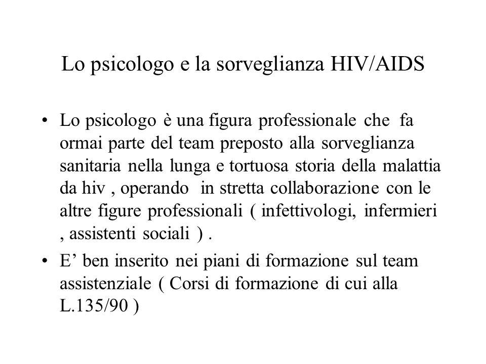 Lo psicologo e la sorveglianza HIV/AIDS Lo psicologo è una figura professionale che fa ormai parte del team preposto alla sorveglianza sanitaria nella