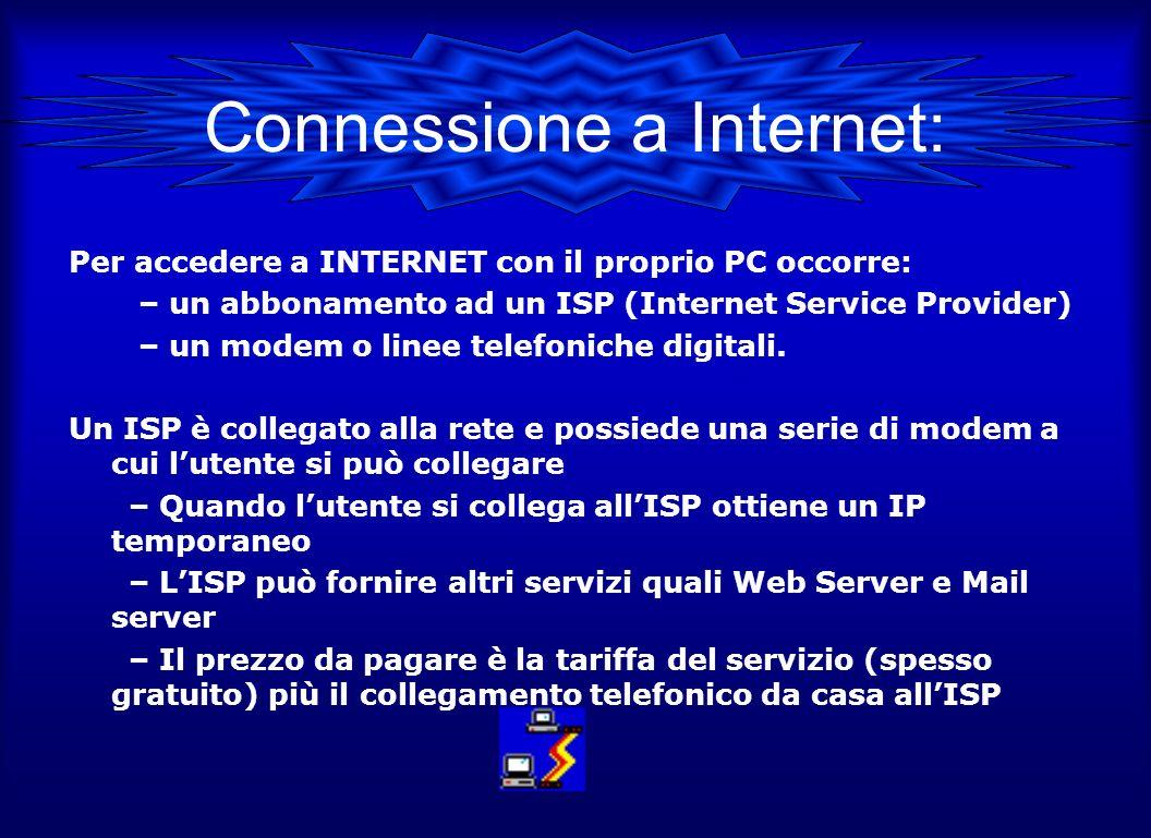 Connessione a Internet: Per accedere a INTERNET con il proprio PC occorre: – un abbonamento ad un ISP (Internet Service Provider) – un modem o linee telefoniche digitali.