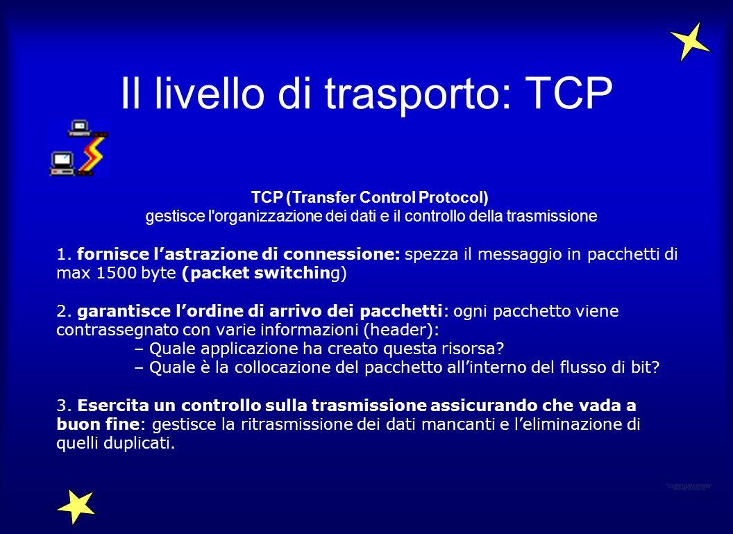 Il livello di trasporto: TCP TCP (Transfer Control Protocol) gestisce l'organizzazione dei dati e il controllo della trasmissione 1. fornisce lastrazi