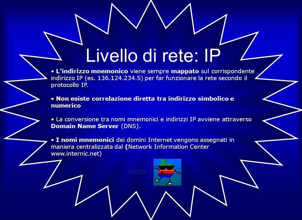 Livello di rete: IP Lindirizzo mnemonico viene sempre mappato sul corrispondente indirizzo IP (es. 136.124.234.5) per far funzionare la rete secondo i