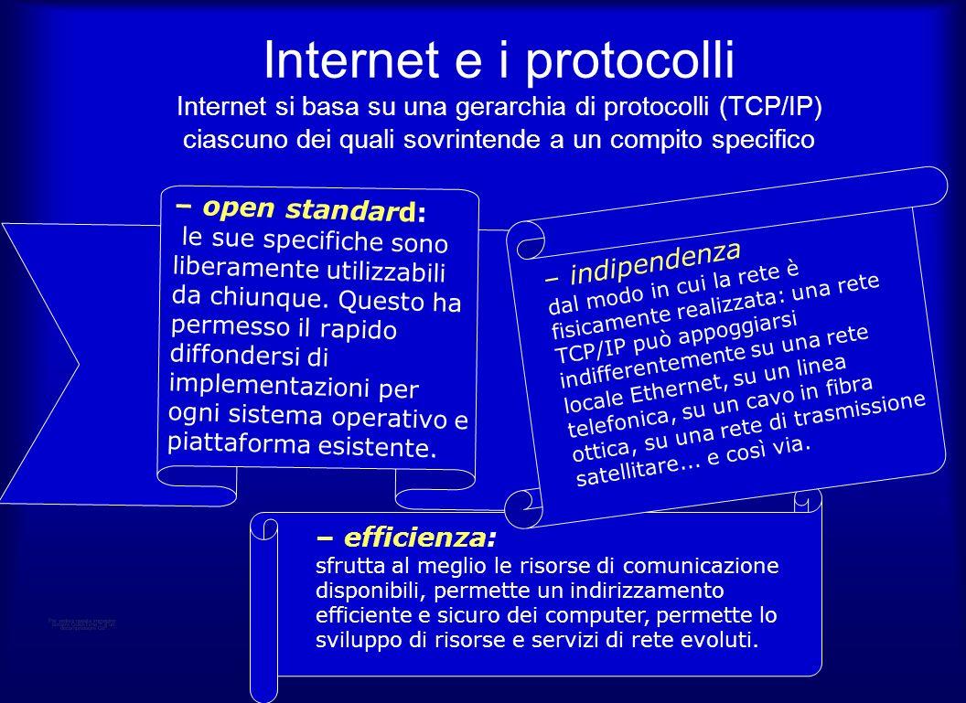 Internet e i protocolli Internet si basa su una gerarchia di protocolli (TCP/IP) ciascuno dei quali sovrintende a un compito specifico – efficienza: sfrutta al meglio le risorse di comunicazione disponibili, permette un indirizzamento efficiente e sicuro dei computer, permette lo sviluppo di risorse e servizi di rete evoluti.
