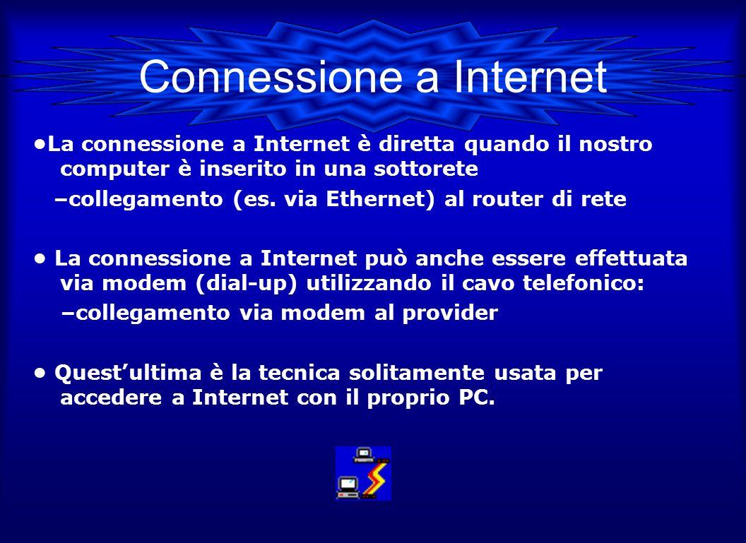Connessione a Internet La connessione a Internet è diretta quando il nostro computer è inserito in una sottorete –collegamento (es. via Ethernet) al r