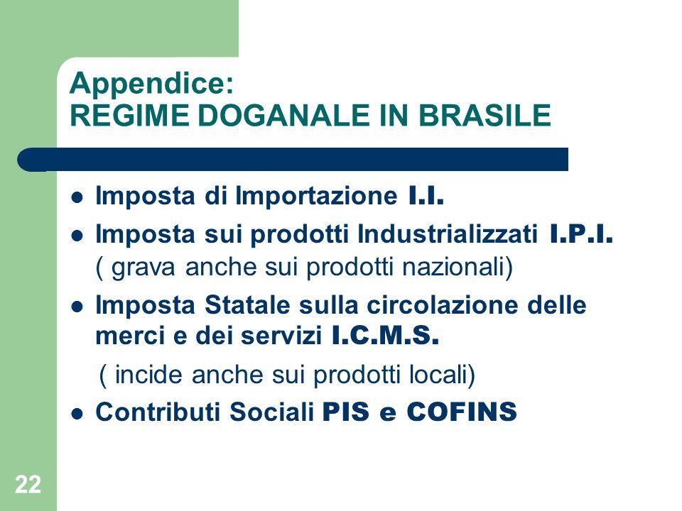 22 Appendice: REGIME DOGANALE IN BRASILE Imposta di Importazione I.I.