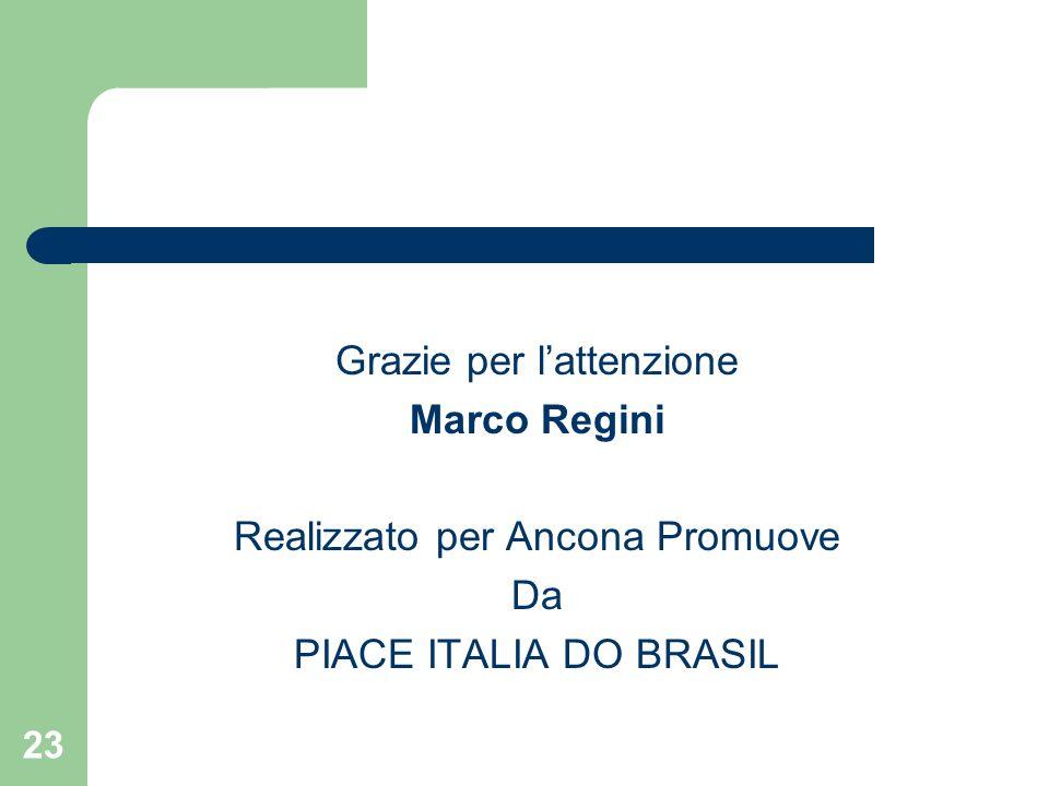 23 Grazie per lattenzione Marco Regini Realizzato per Ancona Promuove Da PIACE ITALIA DO BRASIL