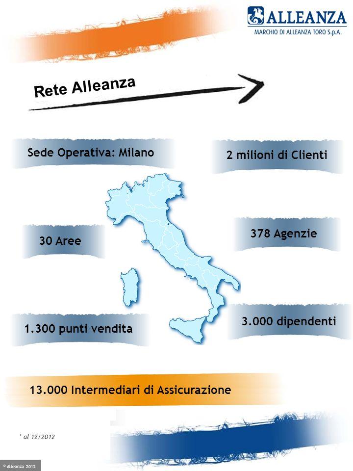 © Alleanza 2012 Crescere è facile, se hai un alleato 2 milioni di Clienti Sede Operativa: Milano 30 Aree * al 12/2012 3.000 dipendenti 1.300 punti ven
