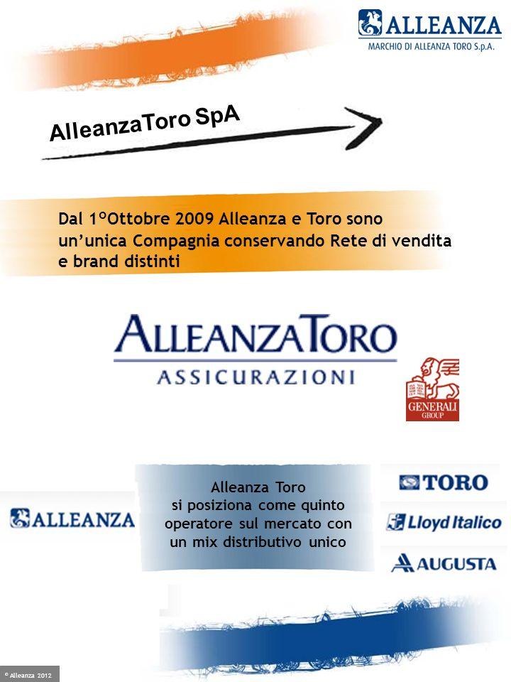© Alleanza 2012 Crescere è facile, se hai un alleato Dal 1°Ottobre 2009 Alleanza e Toro sono ununica Compagnia conservando Rete di vendita e brand dis