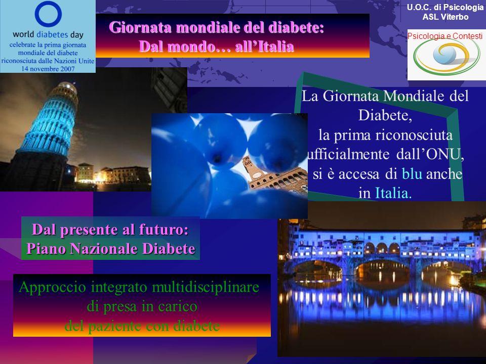 Giornata mondiale del diabete: Dal mondo… allItalia La Giornata Mondiale del Diabete, la prima riconosciuta ufficialmente dallONU, si è accesa di blu