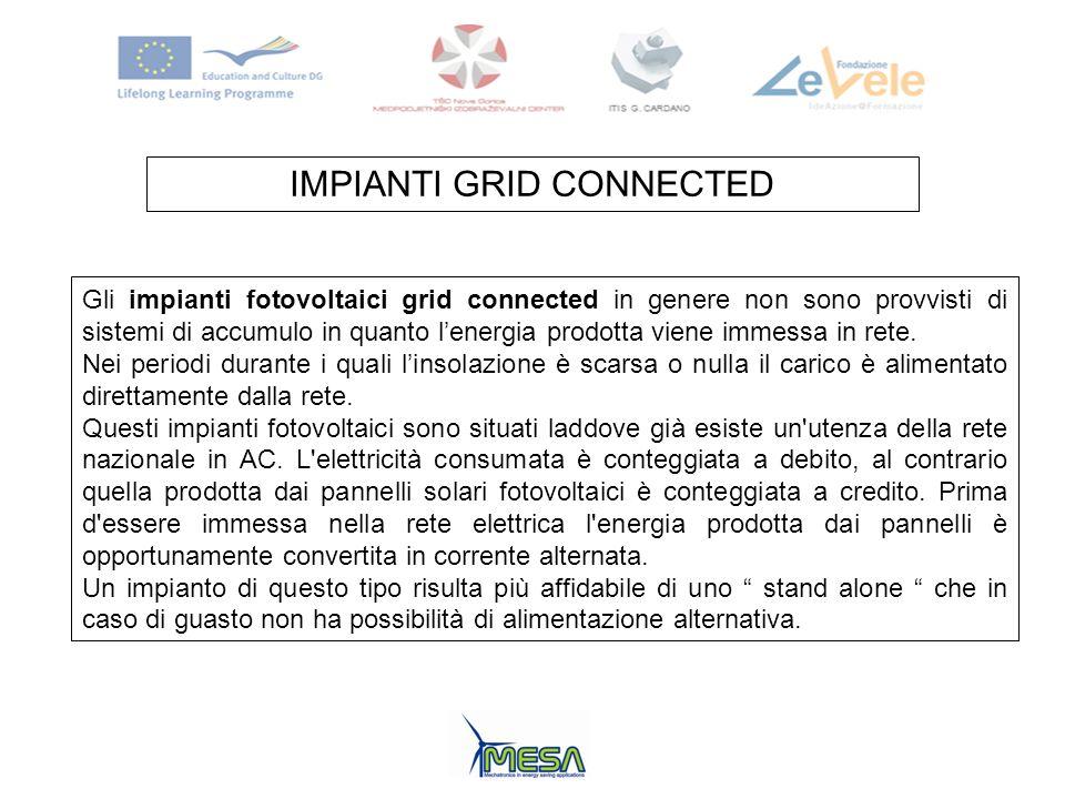 IMPIANTI GRID CONNECTED Gli impianti fotovoltaici grid connected in genere non sono provvisti di sistemi di accumulo in quanto lenergia prodotta viene