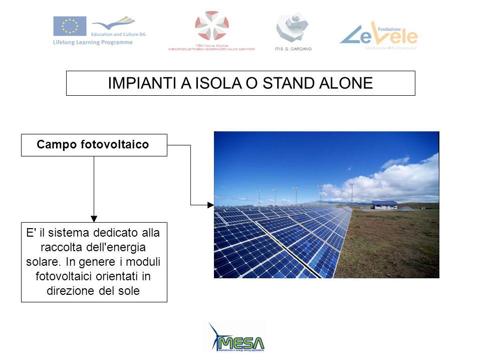 IMPIANTI A ISOLA O STAND ALONE Campo fotovoltaico E' il sistema dedicato alla raccolta dell'energia solare. In genere i moduli fotovoltaici orientati