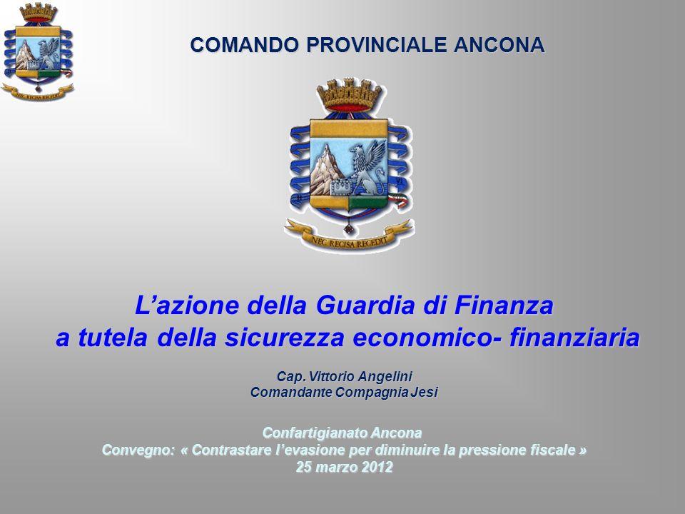 COMANDO PROVINCIALE ANCONA Lazione della Guardia di Finanza a tutela della sicurezza economico- finanziaria a tutela della sicurezza economico- finanz
