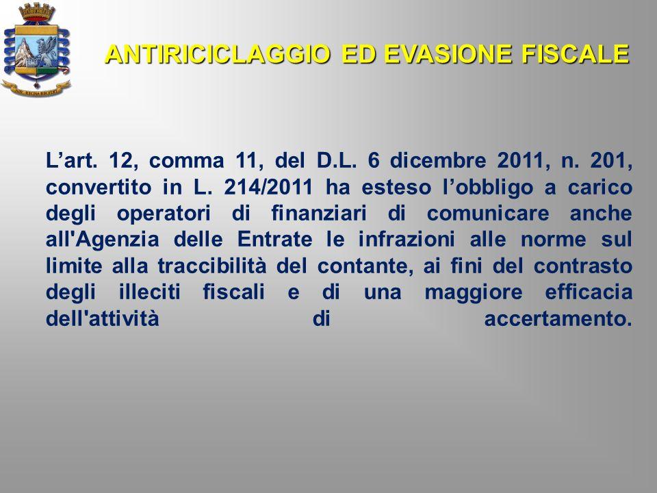 Lart. 12, comma 11, del D.L. 6 dicembre 2011, n. 201, convertito in L. 214/2011 ha esteso lobbligo a carico degli operatori di finanziari di comunicar