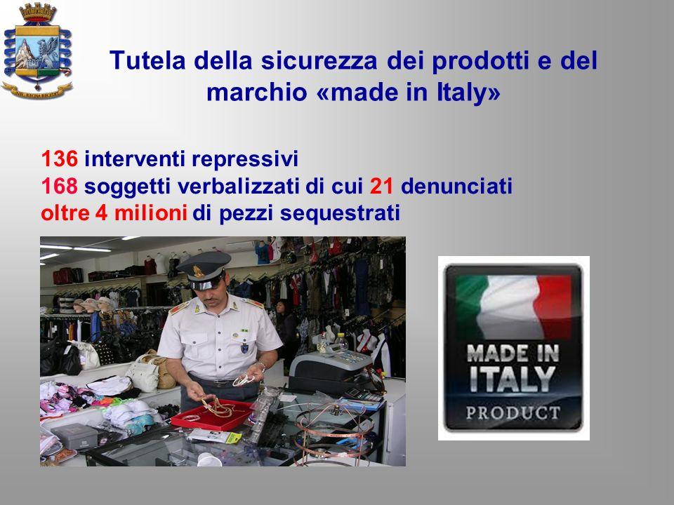 Tutela della sicurezza dei prodotti e del marchio «made in Italy» 136 interventi repressivi 168 soggetti verbalizzati di cui 21 denunciati oltre 4 mil