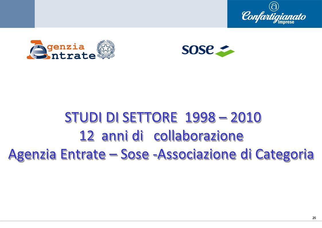 26 STUDI DI SETTORE 1998 – 2010 12 anni di collaborazione Agenzia Entrate – Sose -Associazione di Categoria STUDI DI SETTORE 1998 – 2010 12 anni di co