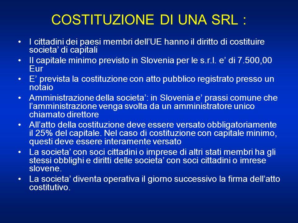 COSTITUZIONE DI UNA SRL : I cittadini dei paesi membri dellUE hanno il diritto di costituire societa di capitali Il capitale minimo previsto in Sloven
