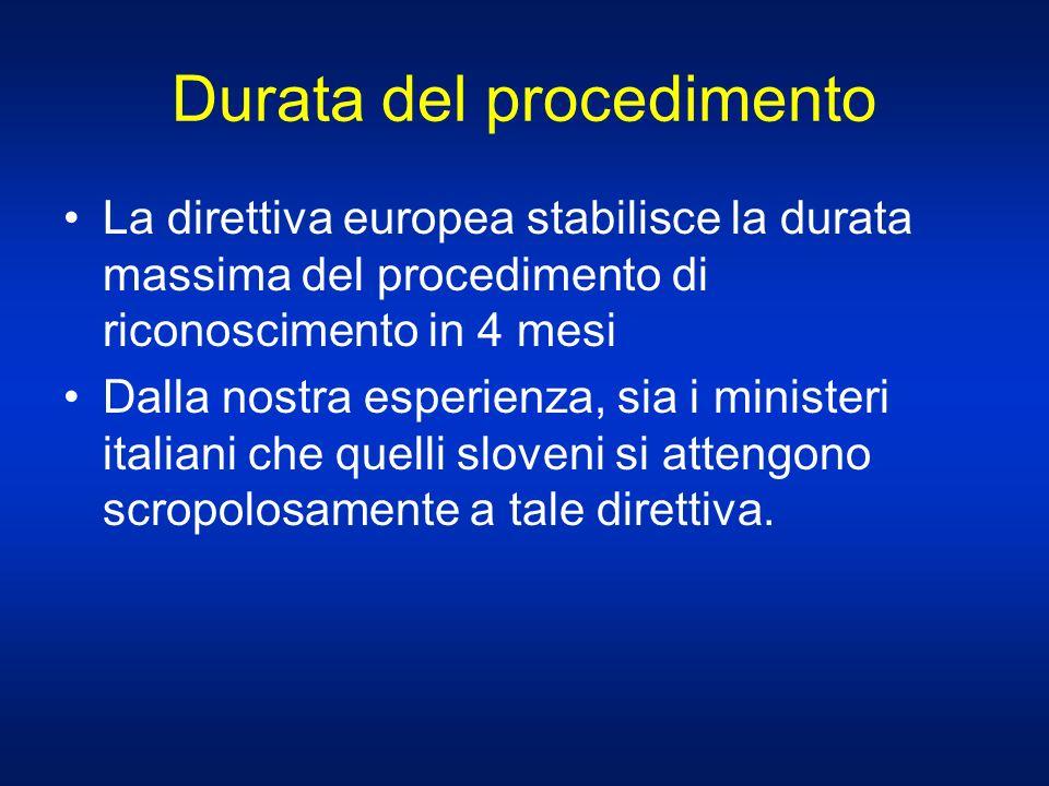 Durata del procedimento La direttiva europea stabilisce la durata massima del procedimento di riconoscimento in 4 mesi Dalla nostra esperienza, sia i ministeri italiani che quelli sloveni si attengono scropolosamente a tale direttiva.