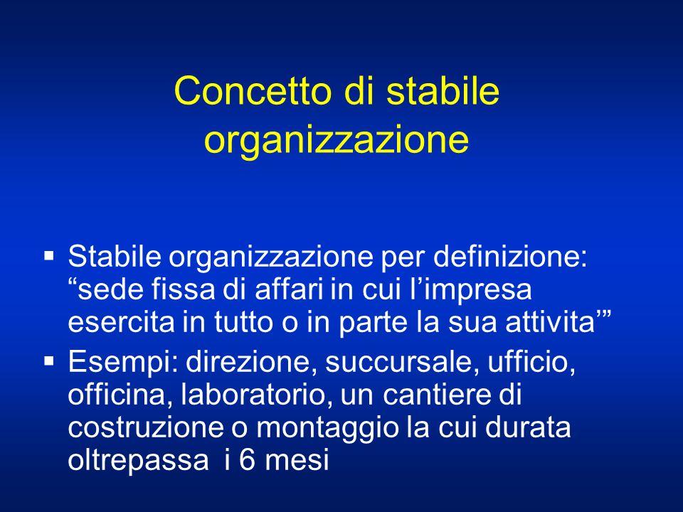 Concetto di stabile organizzazione Stabile organizzazione per definizione: sede fissa di affari in cui limpresa esercita in tutto o in parte la sua at