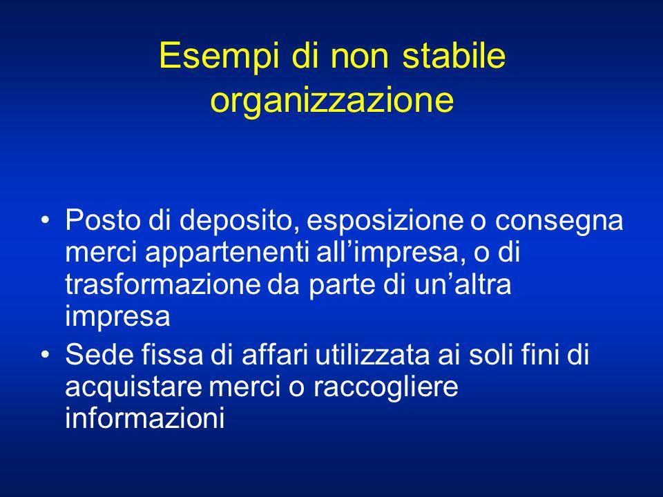 Esempi di non stabile organizzazione Posto di deposito, esposizione o consegna merci appartenenti allimpresa, o di trasformazione da parte di unaltra