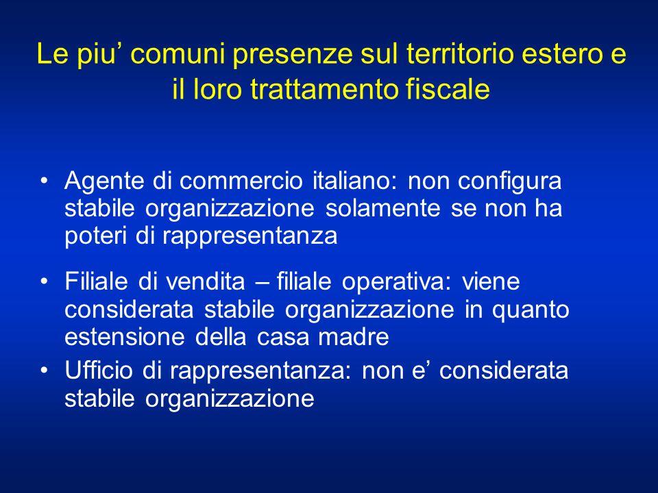 Le piu comuni presenze sul territorio estero e il loro trattamento fiscale Agente di commercio italiano: non configura stabile organizzazione solament