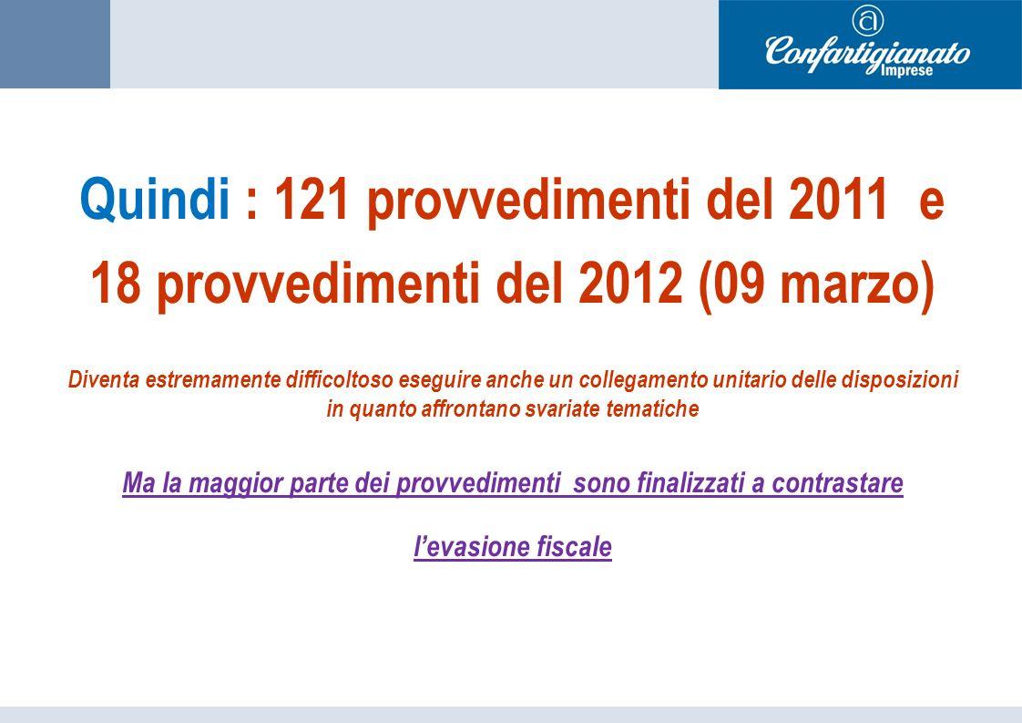 Quindi : 121 provvedimenti del 2011 e 18 provvedimenti del 2012 (09 marzo) Diventa estremamente difficoltoso eseguire anche un collegamento unitario delle disposizioni in quanto affrontano svariate tematiche Ma la maggior parte dei provvedimenti sono finalizzati a contrastare levasione fiscale