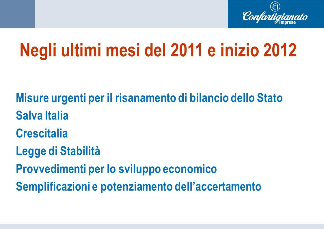 Negli ultimi mesi del 2011 e inizio 2012 Misure urgenti per il risanamento di bilancio dello Stato Salva Italia Crescitalia Legge di Stabilità Provvedimenti per lo sviluppo economico Semplificazioni e potenziamento dellaccertamento