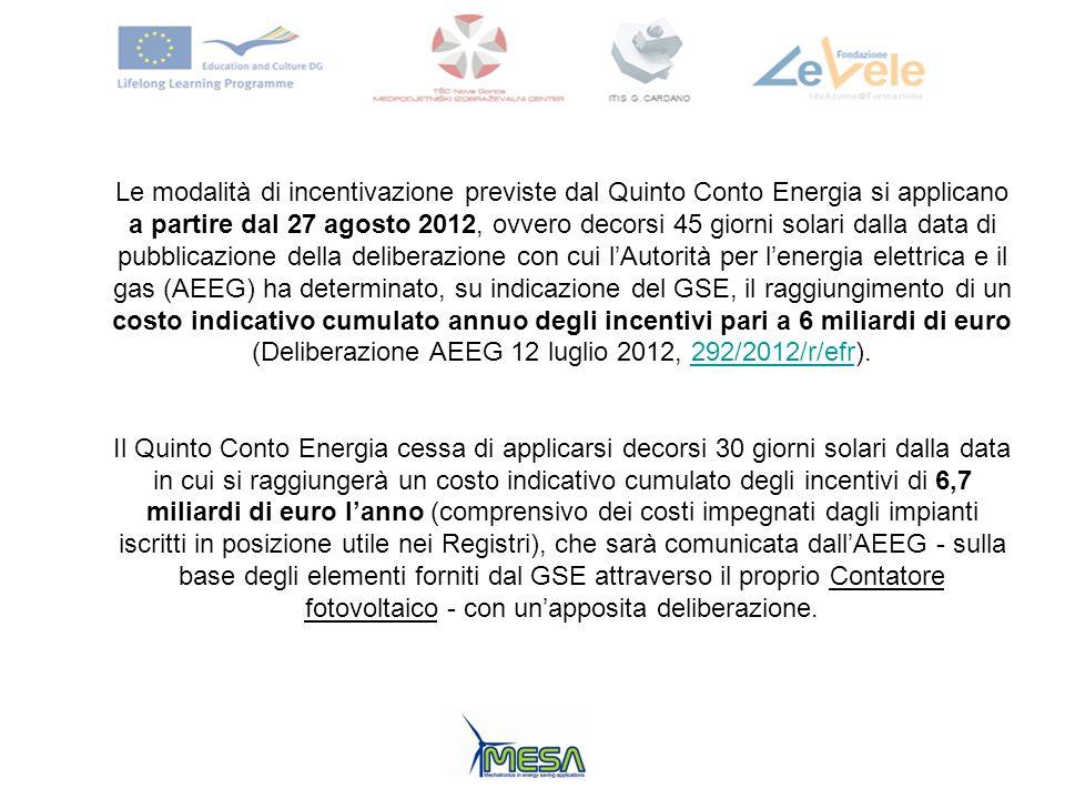 Le modalità di incentivazione previste dal Quinto Conto Energia si applicano a partire dal 27 agosto 2012, ovvero decorsi 45 giorni solari dalla data
