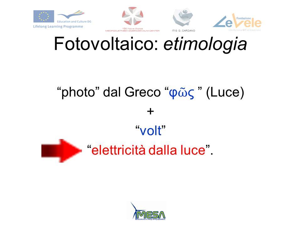 Fotovoltaico: etimologia photo dal Greco φ ς (Luce) + volt elettricità dalla luce.
