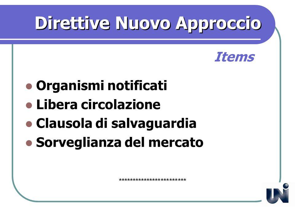 Direttive Nuovo Approccio Organismi notificati Libera circolazione Clausola di salvaguardia Sorveglianza del mercato Items ************************