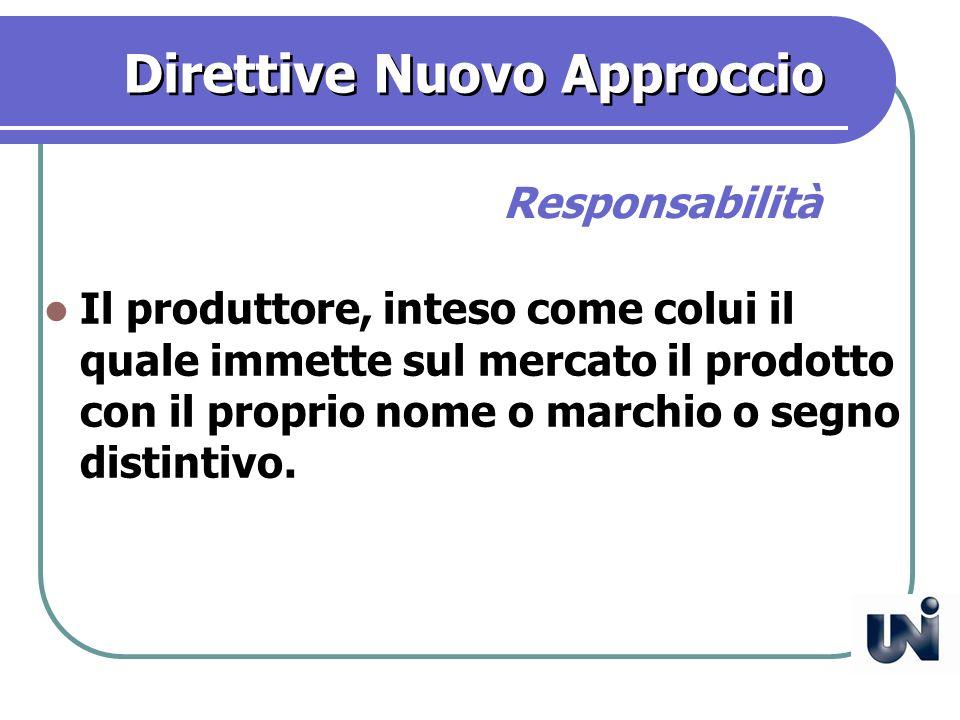 Direttive Nuovo Approccio Il produttore, inteso come colui il quale immette sul mercato il prodotto con il proprio nome o marchio o segno distintivo.