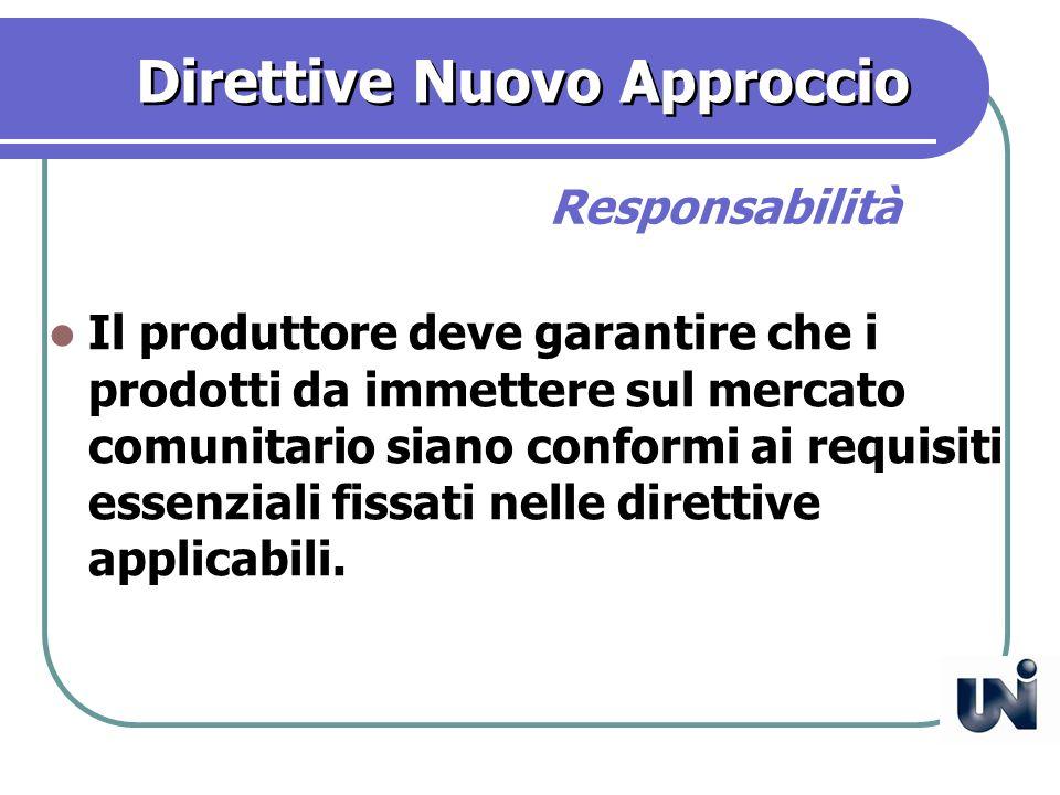 Direttive Nuovo Approccio Il produttore deve garantire che i prodotti da immettere sul mercato comunitario siano conformi ai requisiti essenziali fissati nelle direttive applicabili.
