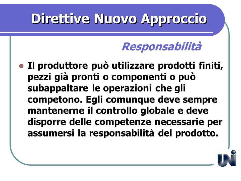 Direttive Nuovo Approccio Il produttore può utilizzare prodotti finiti, pezzi già pronti o componenti o può subappaltare le operazioni che gli competono.