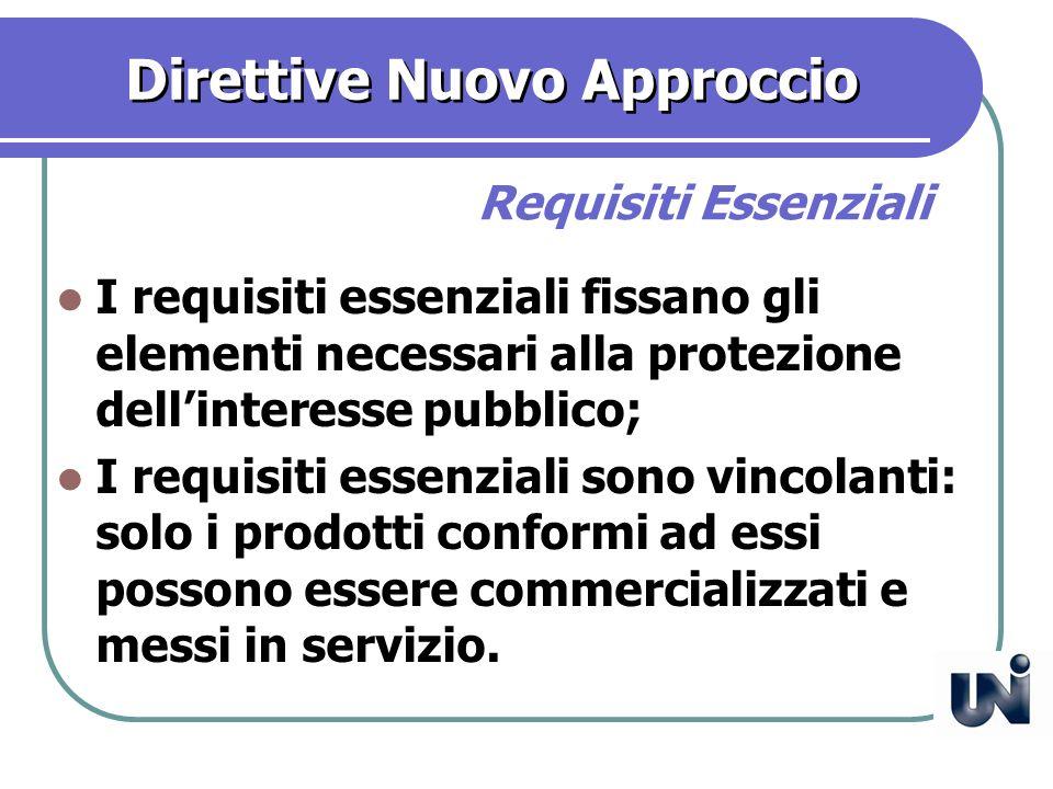 Direttive Nuovo Approccio I requisiti essenziali fissano gli elementi necessari alla protezione dellinteresse pubblico; I requisiti essenziali sono vincolanti: solo i prodotti conformi ad essi possono essere commercializzati e messi in servizio.