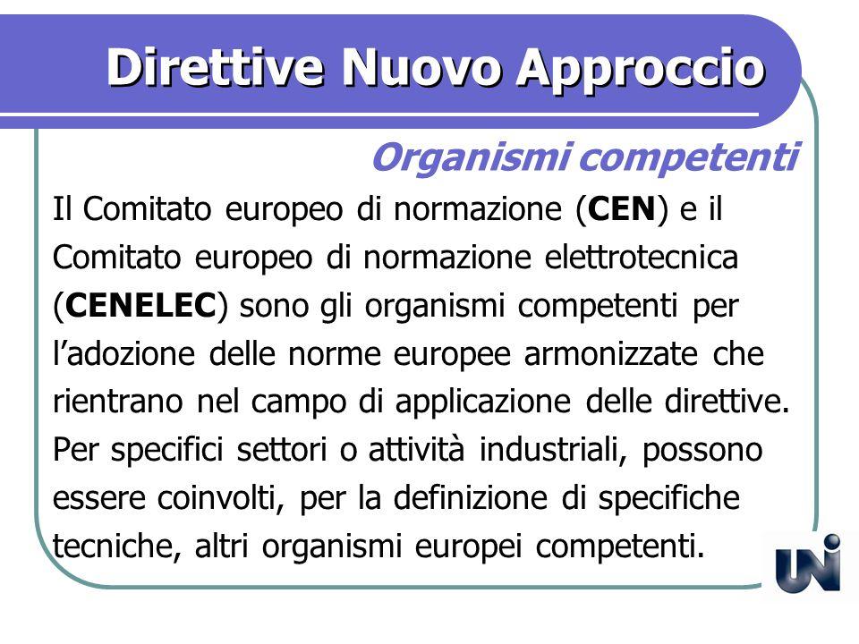 Direttive Nuovo Approccio Il Comitato europeo di normazione (CEN) e il Comitato europeo di normazione elettrotecnica (CENELEC) sono gli organismi competenti per ladozione delle norme europee armonizzate che rientrano nel campo di applicazione delle direttive.