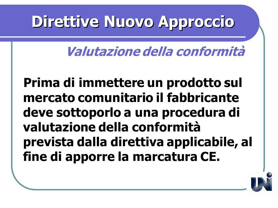 Direttive Nuovo Approccio Prima di immettere un prodotto sul mercato comunitario il fabbricante deve sottoporlo a una procedura di valutazione della conformità prevista dalla direttiva applicabile, al fine di apporre la marcatura CE.