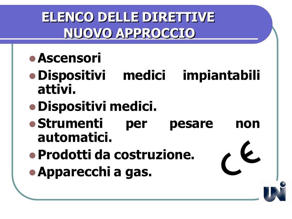 ELENCO DELLE DIRETTIVE NUOVO APPROCCIO Ascensori Dispositivi medici impiantabili attivi.